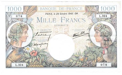 フランス 1000フラン紙幣 1940年 美品+