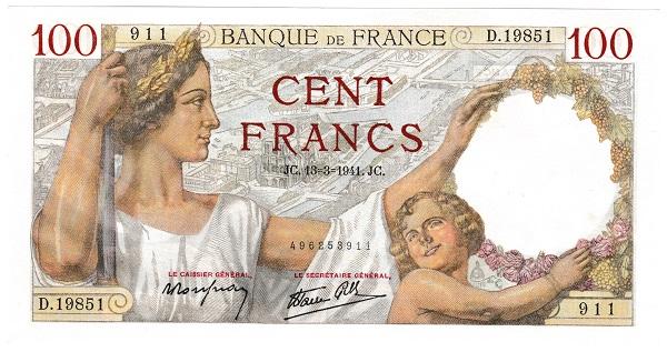 フランス SULLY 100フラン紙幣 1941年 未使用