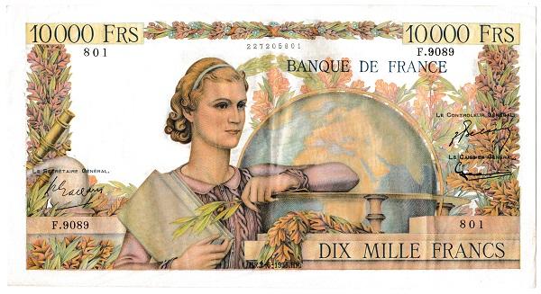 フランス 10000フラン紙幣 1955年 美品
