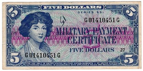 アメリカ 軍票 5ドル MPC SERIES 591 美品