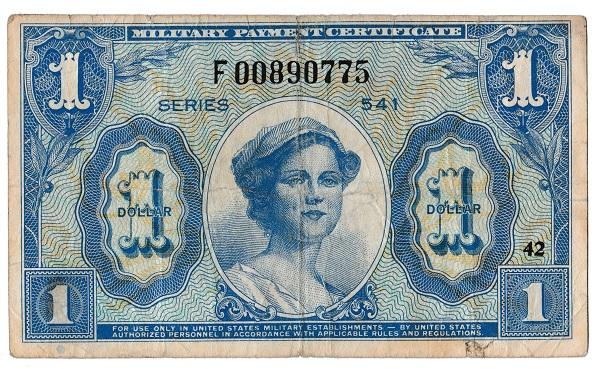 アメリカ 軍票 1ドル MPC SERIES 541 美品-