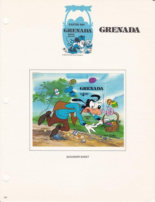 外国切手 グラナダ イースター ディズニー 4ドル切手 1981年 卸売り 商品 グーフィー