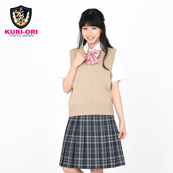 KURI-ORI ★ chestnut cage W69 length 48 Somers cart SKR89 gray check light blue uniform pleated skirt