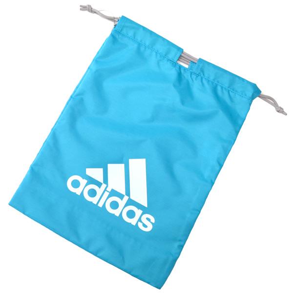 ギフト 正規認証品 新規格 レターパックライトでお届け可 adidas シューズバッグ 靴袋 両端でも真ん中でも紐を絞れる便利な巾着袋 ターコイズ白YC59066 通学のお供に