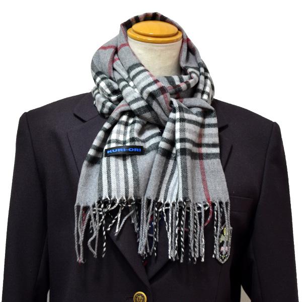 KURI-ORI  marshmallow touch scarf gray check 32MF13-1