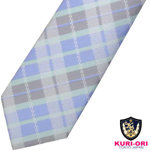 KURI-ORI クリオリ 制服 日本製 男女兼用 スクールネクタイKRN188パステルサックスチェック 返品不可 低価格