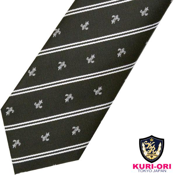 直営限定アウトレット KURI-ORI 買物 クリオリ 制服 日本製 スクールネクタイKRN190黒ユリクレスト 男女兼用