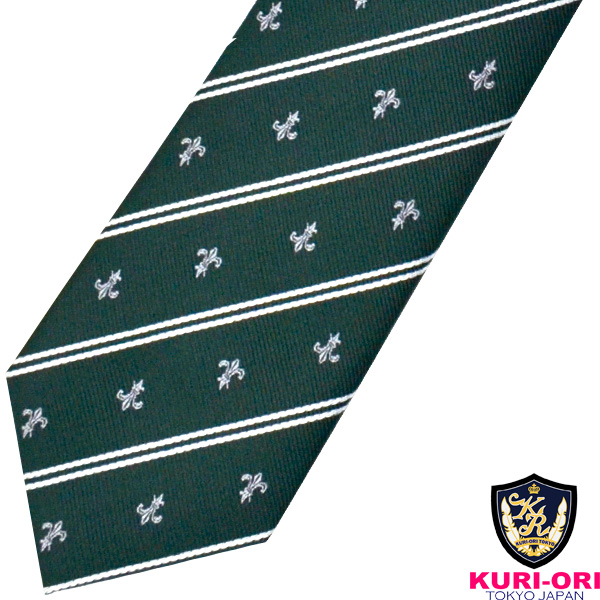 KURI-ORI 商店 クリオリ 制服 日本製 スクールネクタイKRN191グリーン×ユリクレスト 10%OFF 男女兼用
