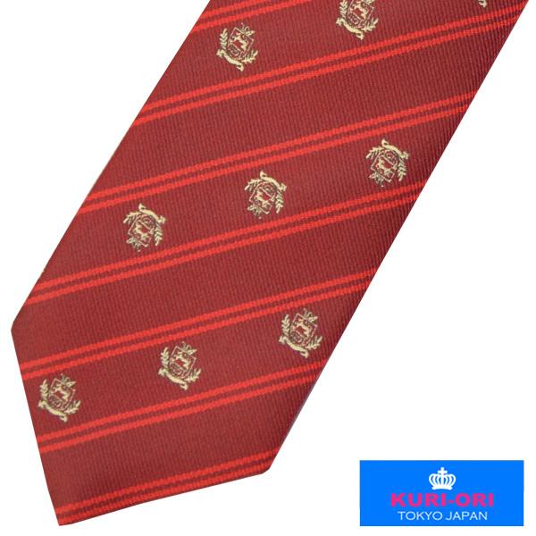 KURI-ORI クリオリ 当店は最高な サービスを提供します 制服 評判 スクールネクタイKRN68クレスト赤 金刺繍 男女兼用 日本製