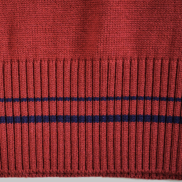 KURI-ORI ★ chestnut cage wool & acrylic V neck best bar Gandhi X navy line feather mark one point KAG32BN traditional fashion design crimson red