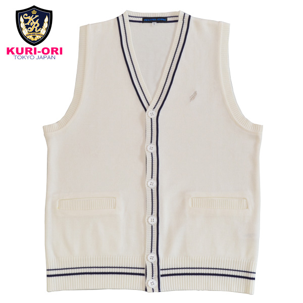 KAG34WN traditional fashion design with the KURI-ORI ★ chestnut cage wool & acrylic fastening in front best white X navy line feather mark one point pocket