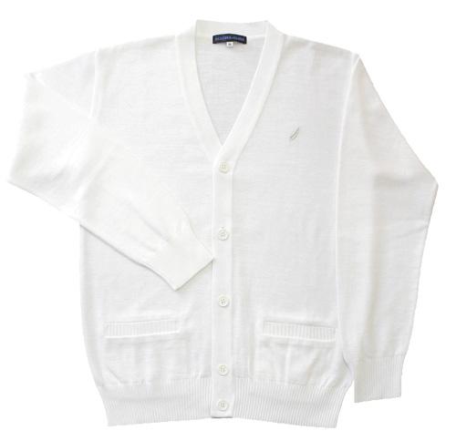 KURI-ORI Seihuku cotton blend cardigan KC605W, white with silver mark