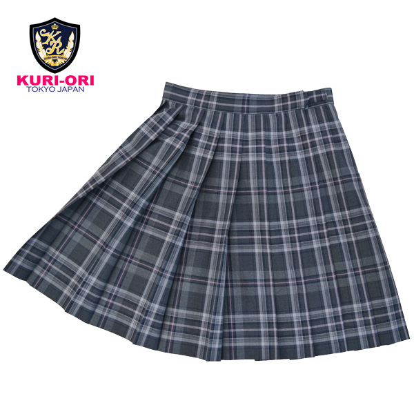 KURI-ORI ★ chestnut cage W80 length 54 Somers cart SKR411 gray light and shade X pink uniform pleated skirt