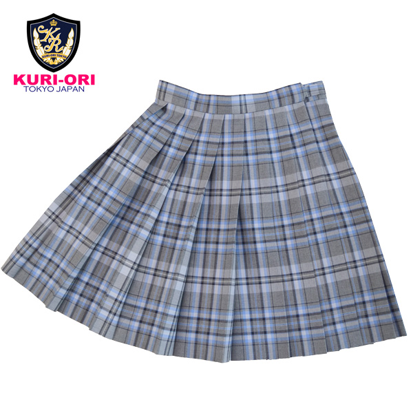 KURI-ORI ★ chestnut cage W75 length 48 three season skirt WKR409 light gray X sax uniform pleated skirt