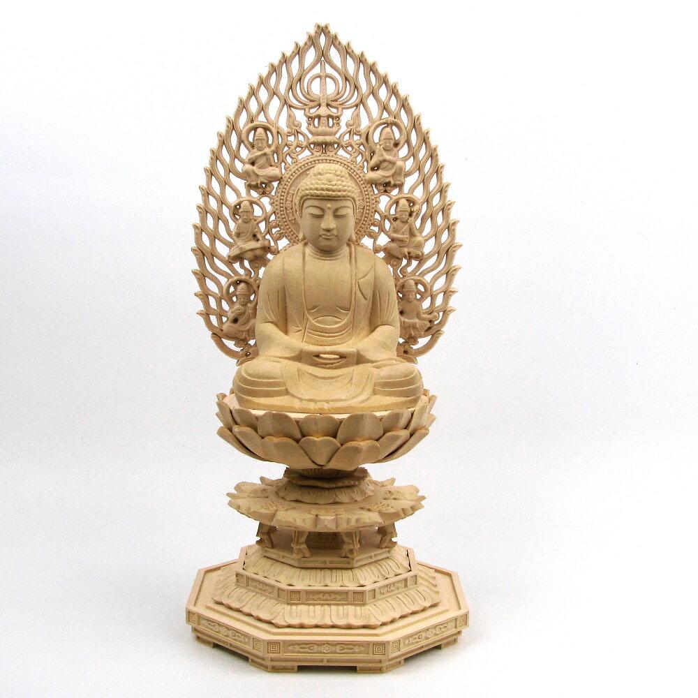 仏像 釈迦如来 座像 3.5寸 飛天光背 八角台 桧木 釈迦如来像 曹洞宗 臨済宗 天台宗 禅宗 本尊 お釈迦様 座釈迦