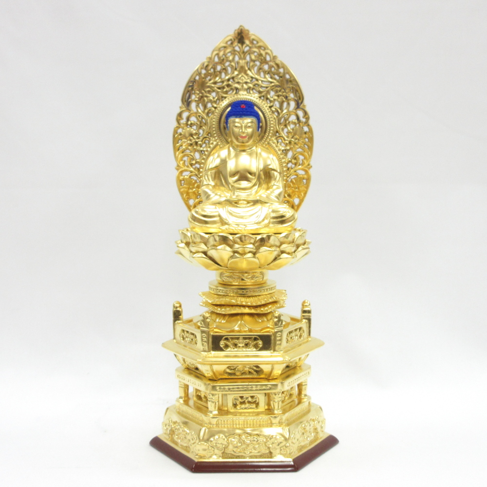 仏像 釈迦如来 座像 2.5寸 草光背 六角台 桧木金箔仕上げ 釈迦如来像 曹洞宗 臨済宗 天台宗 禅宗 本尊 お釈迦様 座釈迦