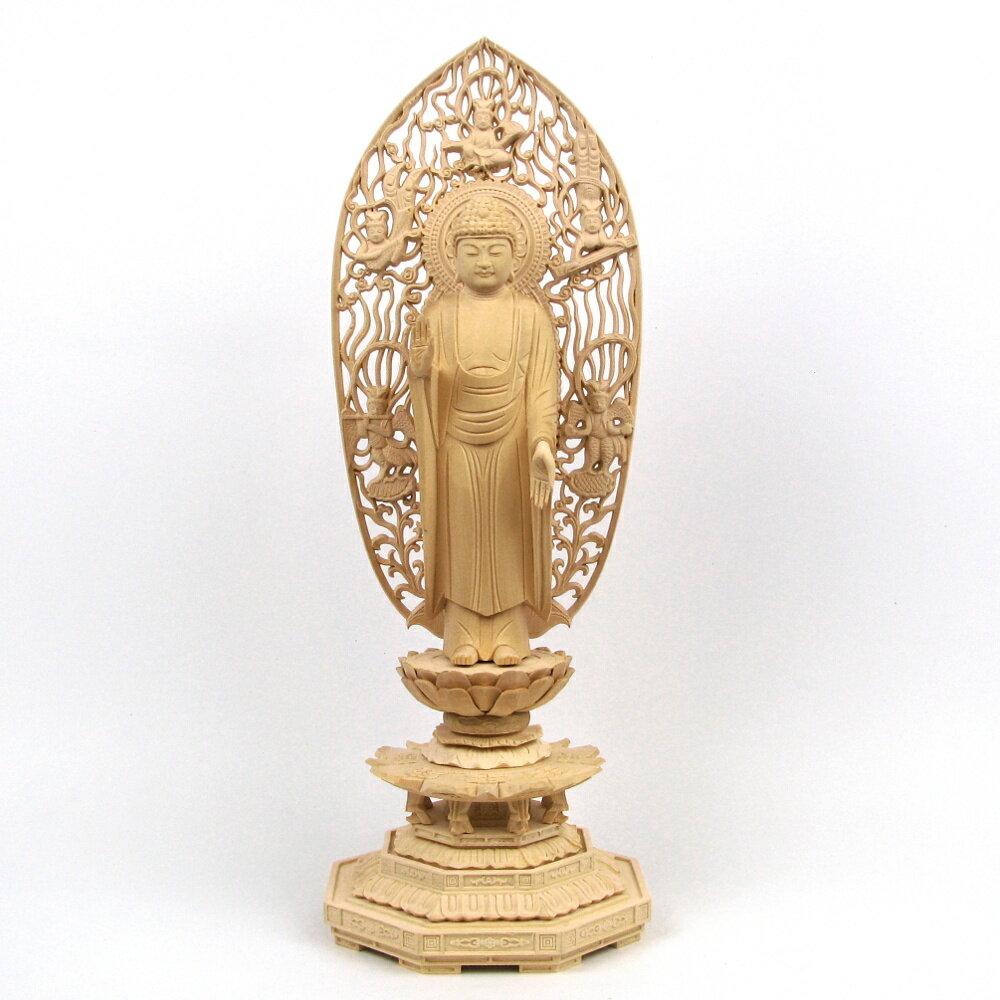 仏像 釈迦如来 立像 6.0寸 飛天光背 八角台 桧木 釈迦如来像 曹洞宗 臨済宗 天台宗 禅宗 本尊 お釈迦様