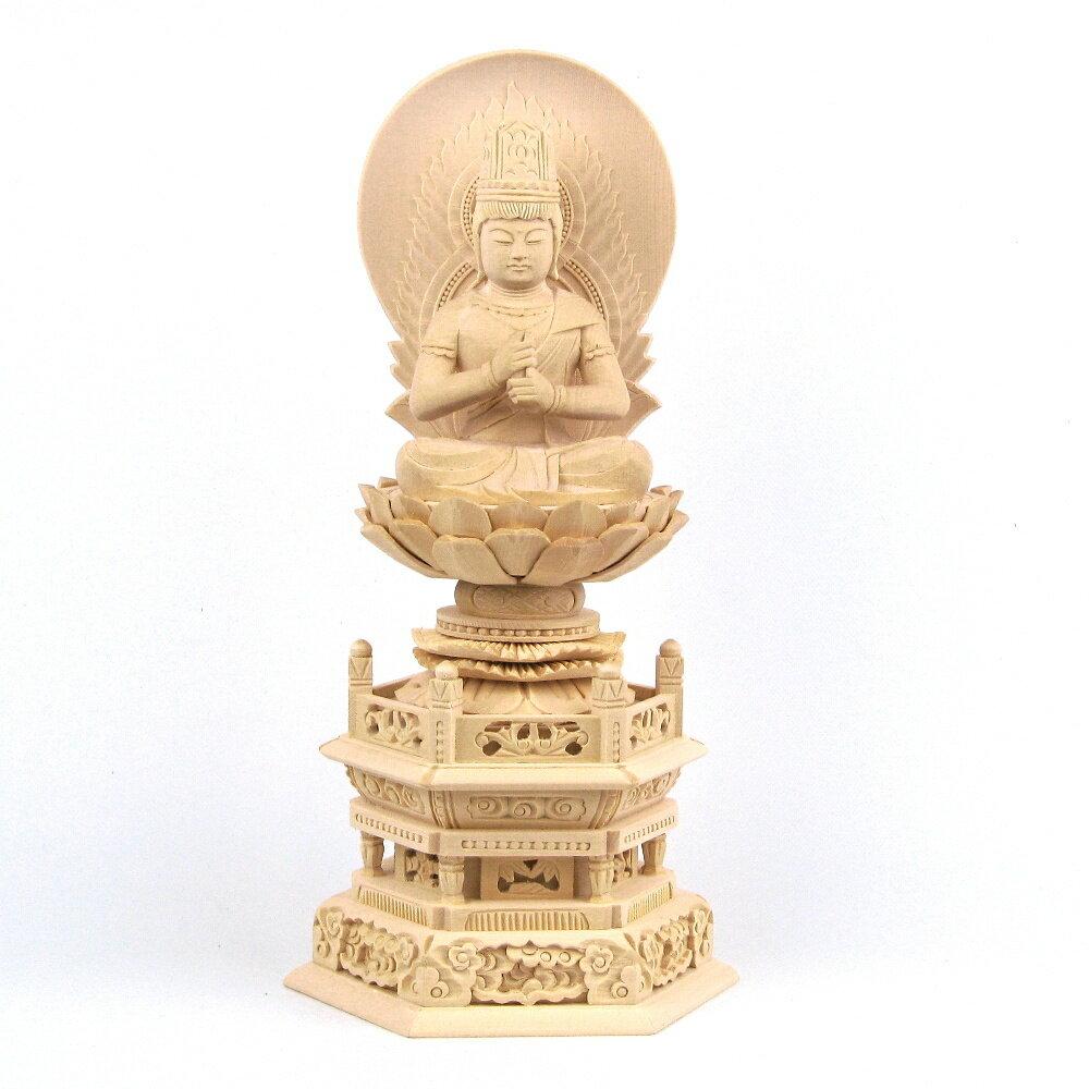 仏像 大日如来 座像 金剛界 智慧 3.5寸 日輪光背 六角台 桧木 真言宗 本尊 守り本尊