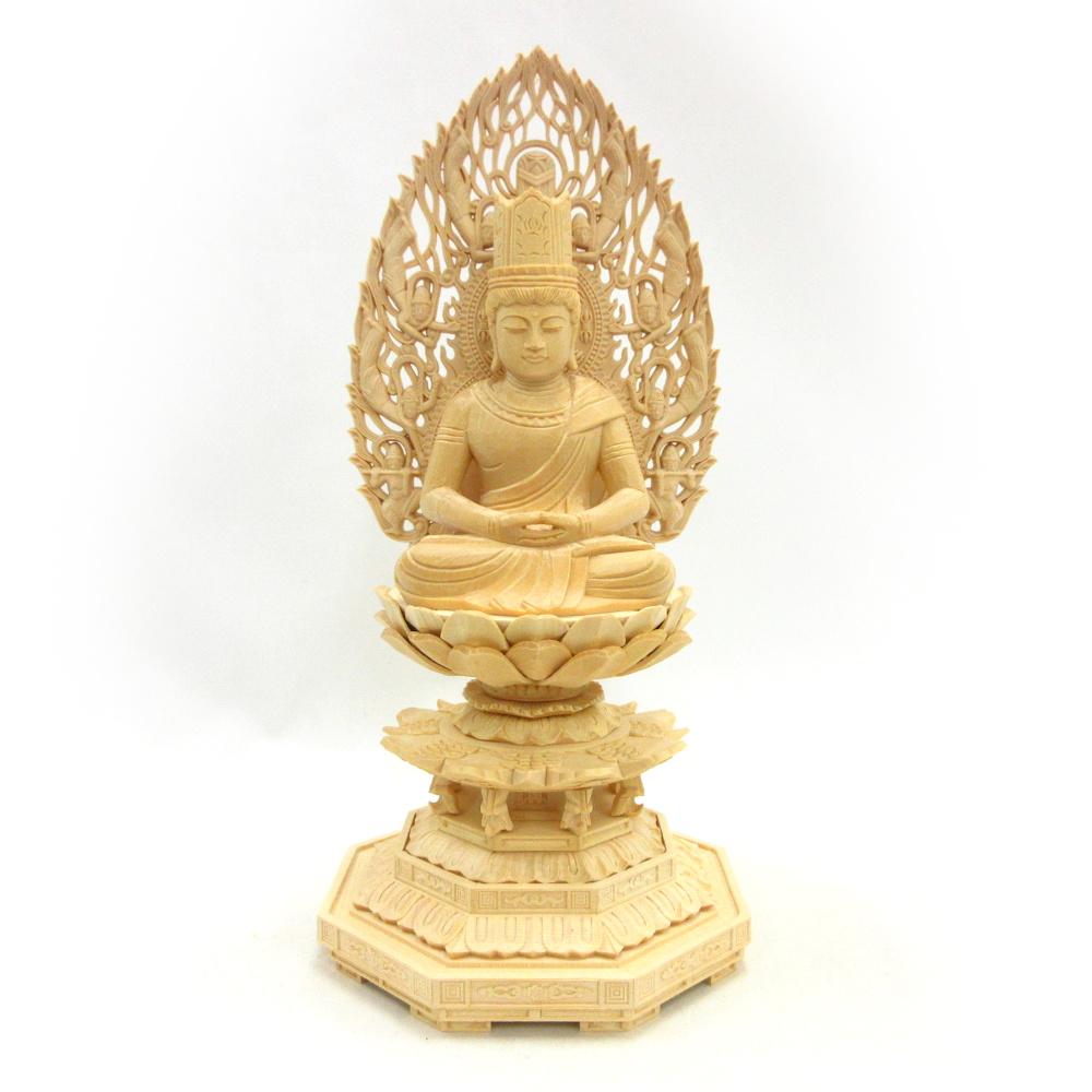 仏像 大日如来 座像 胎蔵界 慈悲 3.0寸 飛天光背 八角台 桧木 真言宗 大日如来像