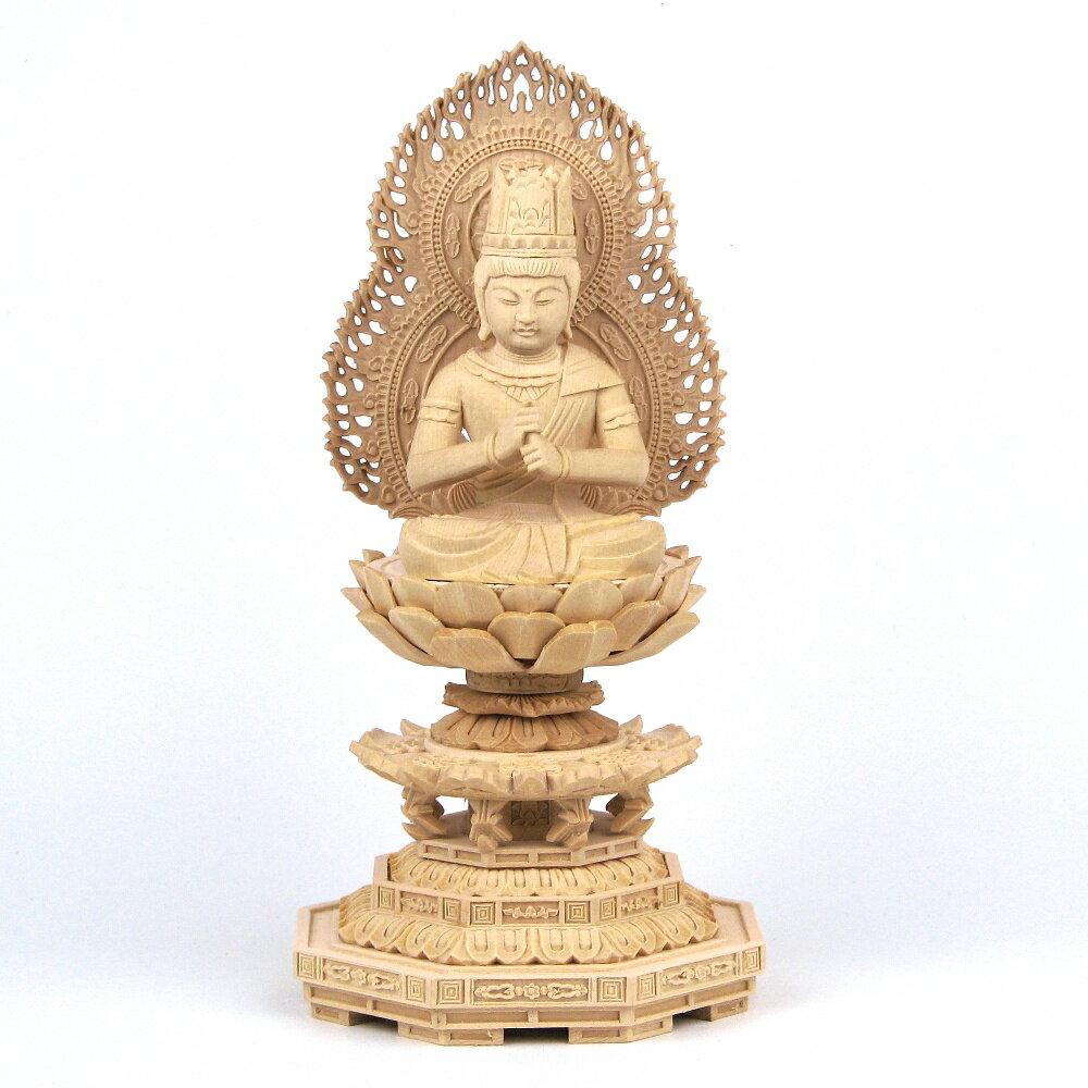 仏像 大日如来 座像 金剛界 智慧 2.0寸 火炎光背 八角台 桧木 真言宗 本尊 守り本尊
