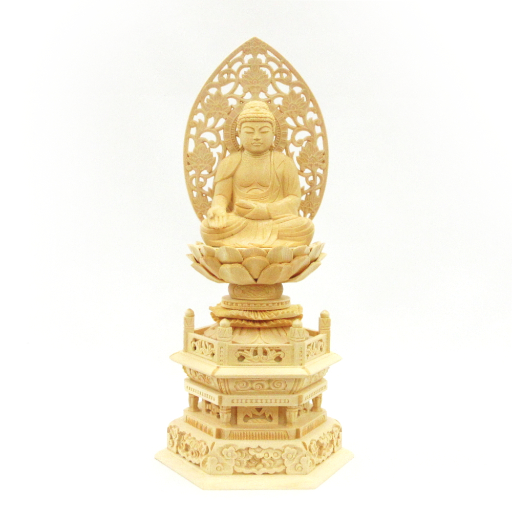 木彫仏像 木製 木彫り 仏像 宝生如来 六角台 桧木 1年保証 座像 2.5寸 草光背 ランキングTOP10