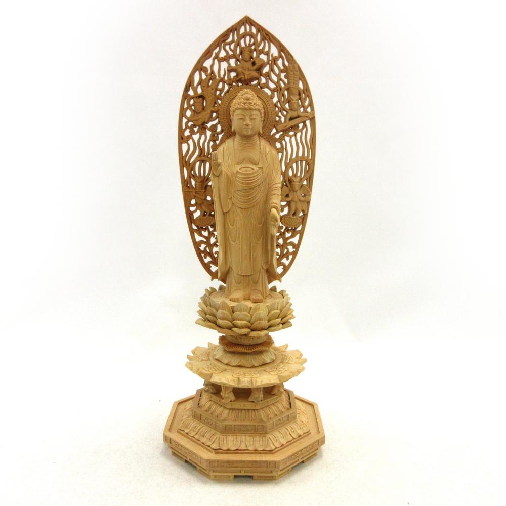仏像 阿弥陀如来 立像 3.5寸 飛天光背 八角台 柘植 天台宗 浄土宗 浄土真宗 曹洞宗 本尊 阿弥陀様