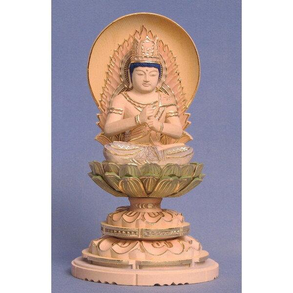 仏像 大日如来 座像 金剛界 智慧 2.0寸 日輪光背 円台 桧木彩色 真言宗 本尊 守り本尊