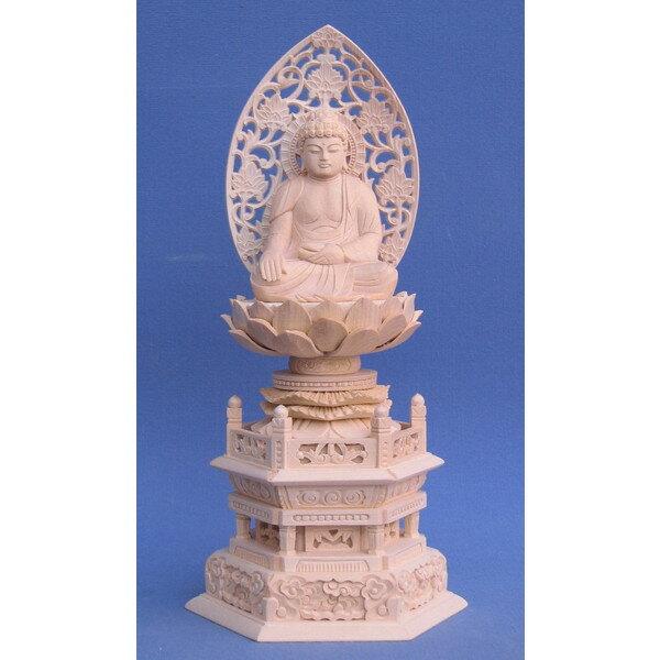 仏像 仏像 仏像 阿しゅく如来 座像 2.0寸 草光背 六角台 桧木 389
