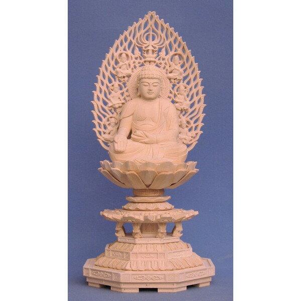 仏像 宝生如来 座像 2.5寸 飛天光背 八角台 桧木