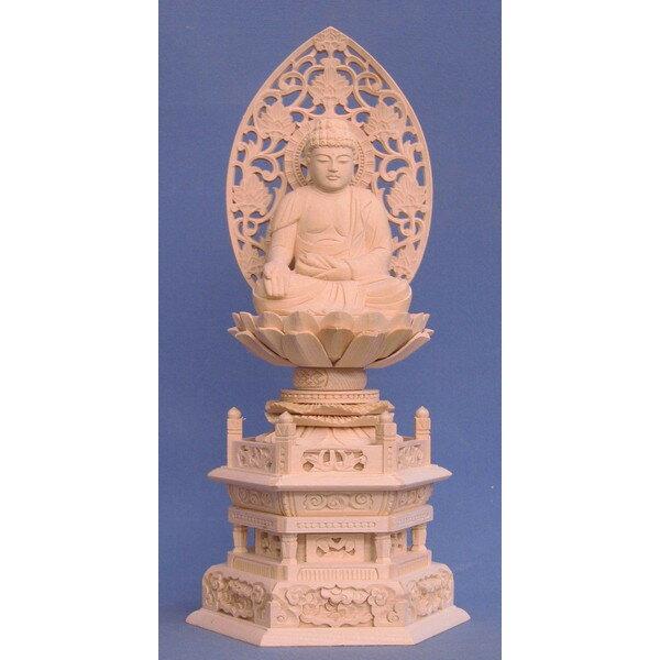 仏像 宝生如来 座像 2.5寸 草光背 六角台 桧木