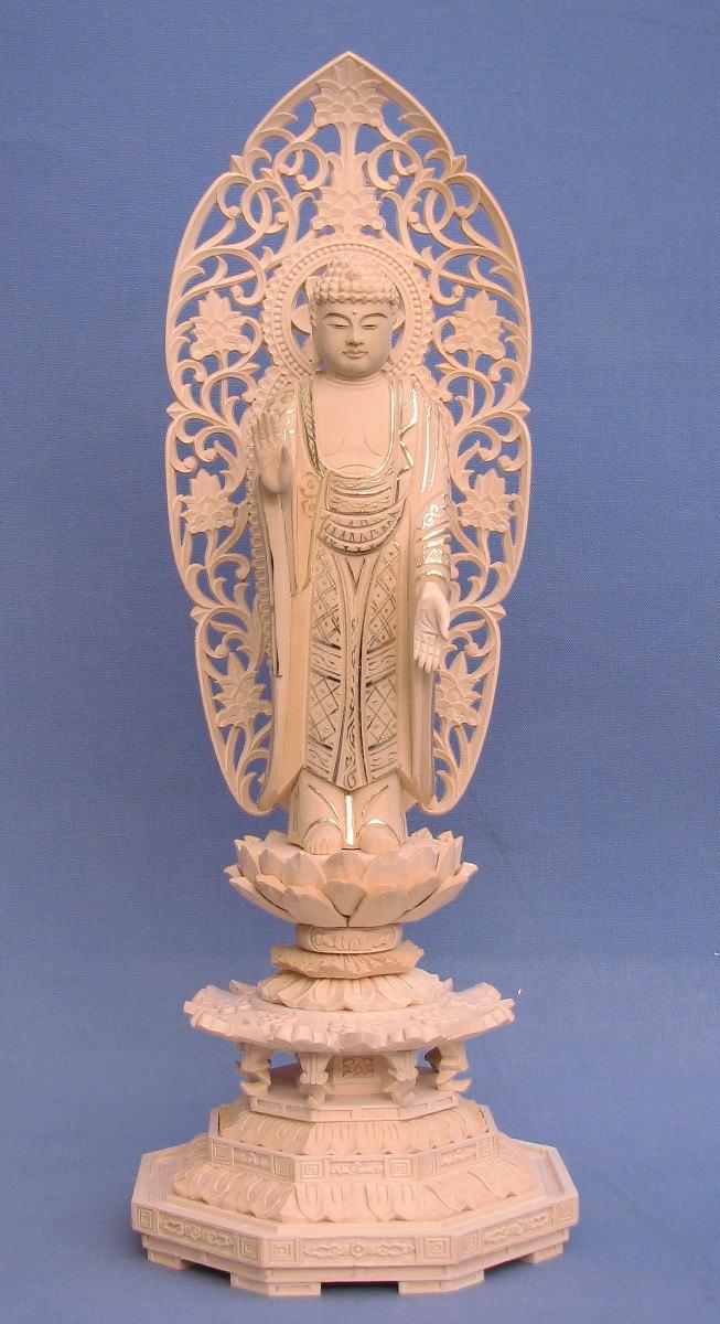 仏像 釈迦如来 立像 5.0寸 草光背 八角台 桧木切金 釈迦如来像 曹洞宗 臨済宗 天台宗 禅宗 本尊 お釈迦様