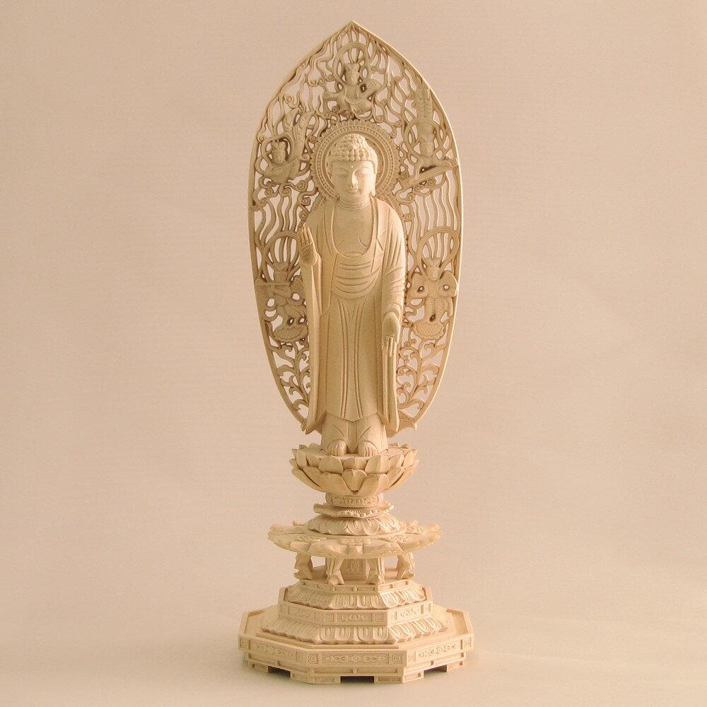 仏像 釈迦如来 立像 5.0寸 飛天光背 八角台 桧木 釈迦如来像 曹洞宗 臨済宗 天台宗 禅宗 本尊 お釈迦様