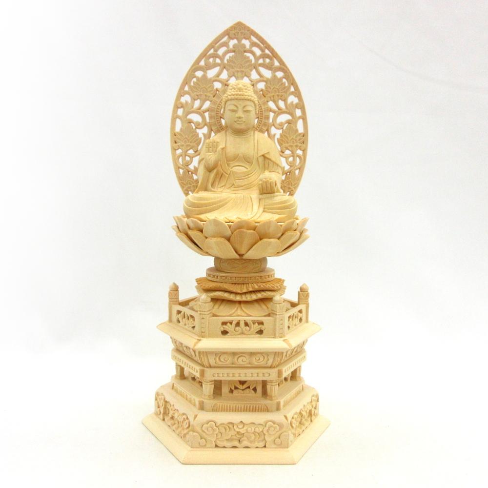 木彫仏像 木彫り 木製 仏像 日本メーカー新品 薬師如来 待望 座像 2.5寸 桧木 薬師如来像 薬師瑠璃光如来 六角台 お薬師さん 草光背 お薬師さま