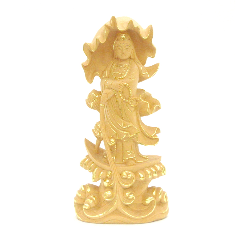 仏像 一葉観音菩薩 立像 総高23cm 桧木切金