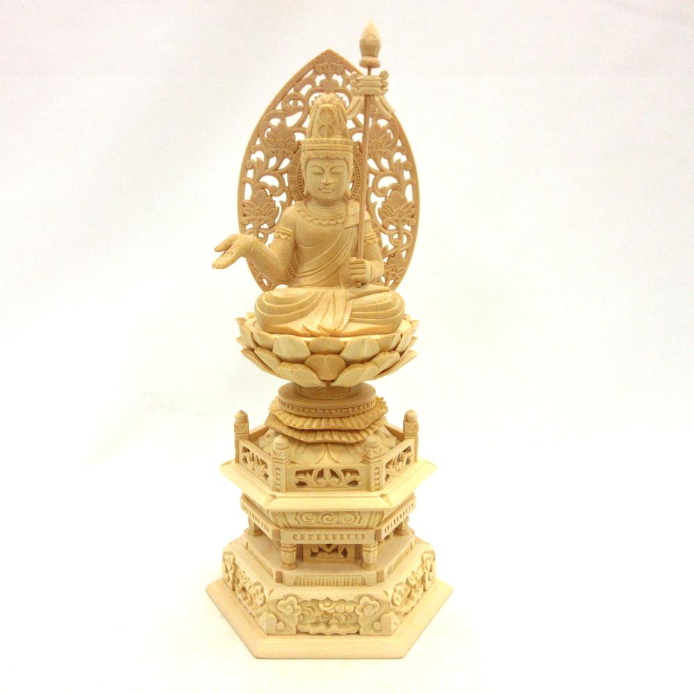 仏像 除害障菩薩 2.0寸 草光背 六角台 桧木