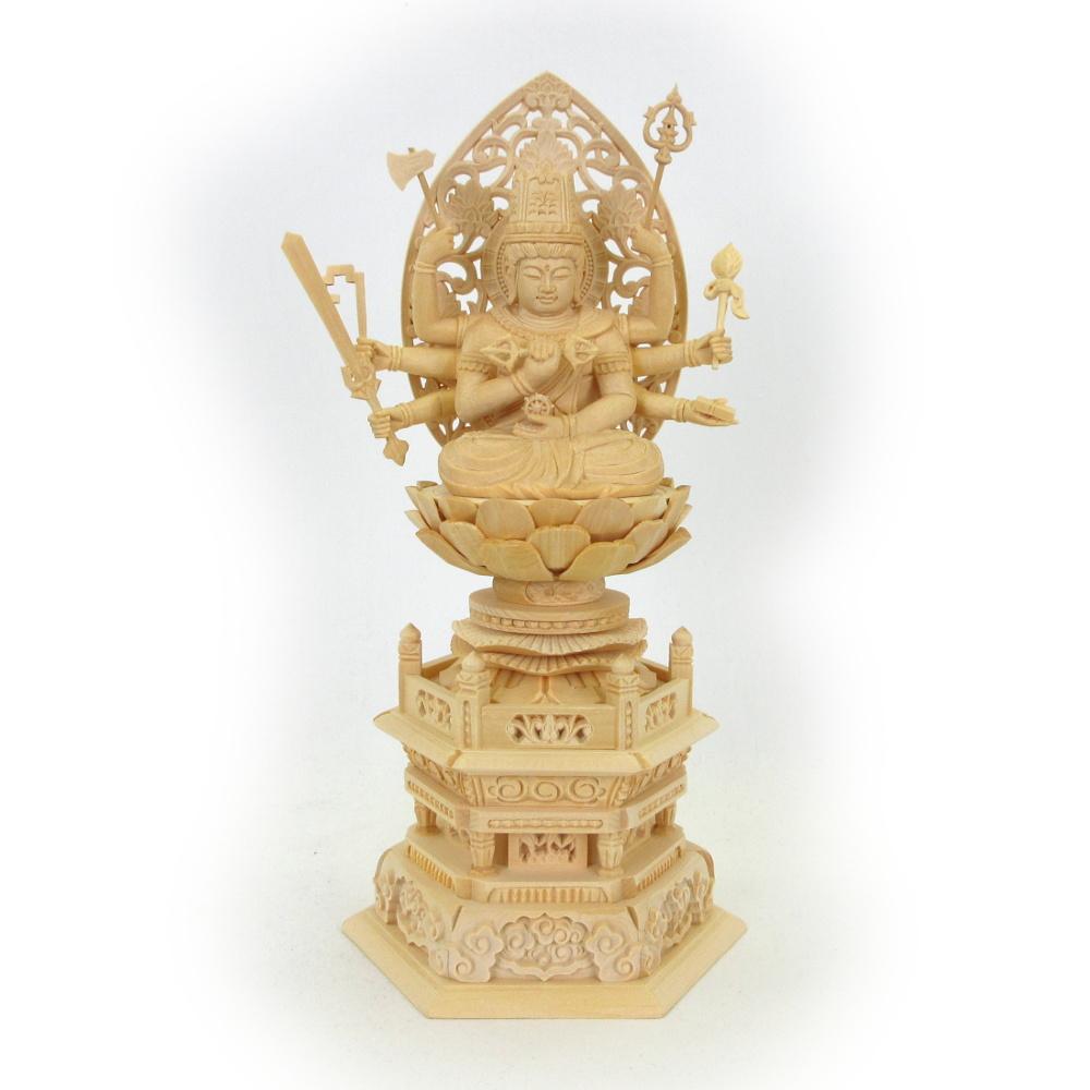 仏像 大随求菩薩 座像 2.0寸 草光背 六角台 桧木