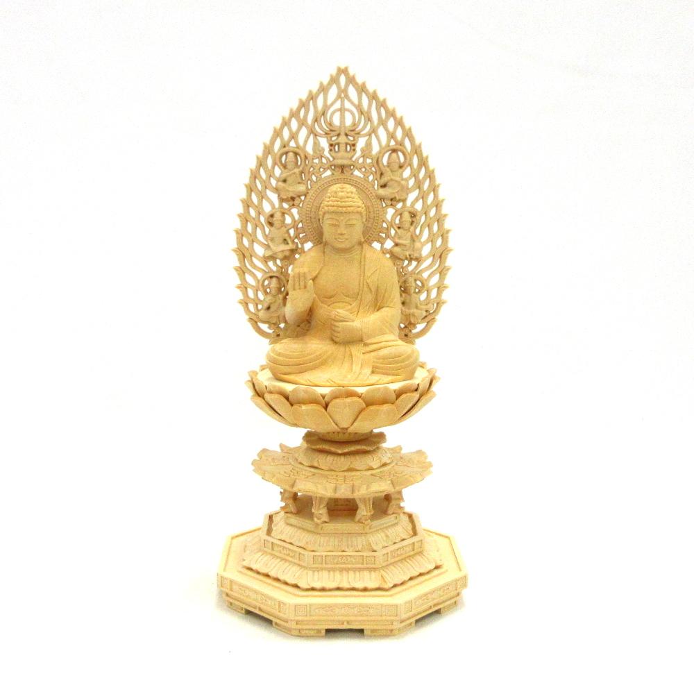 木彫仏像 5☆好評 木彫り 木製 仏像 希少 不空成就如来 座像 八角台 飛天光背 五智如来 桧木 2.5寸