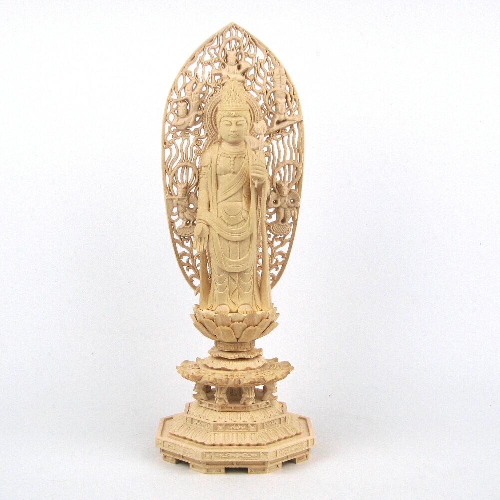 仏像 聖観音菩薩 立像 4.0寸 飛天光背 八角台 桧木 観世音菩薩 観自在菩薩 六観音 観音