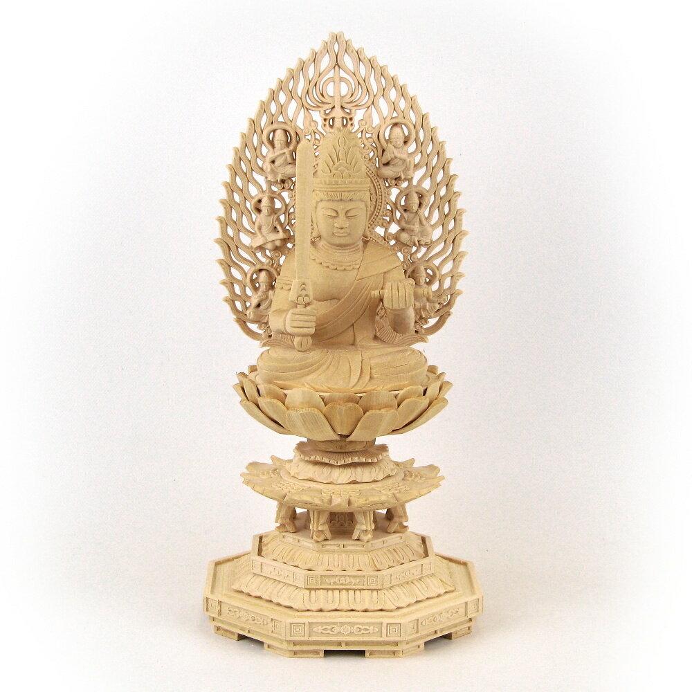 仏像 桧木 文殊菩薩 座像 飛天光背 2.5寸 八角台