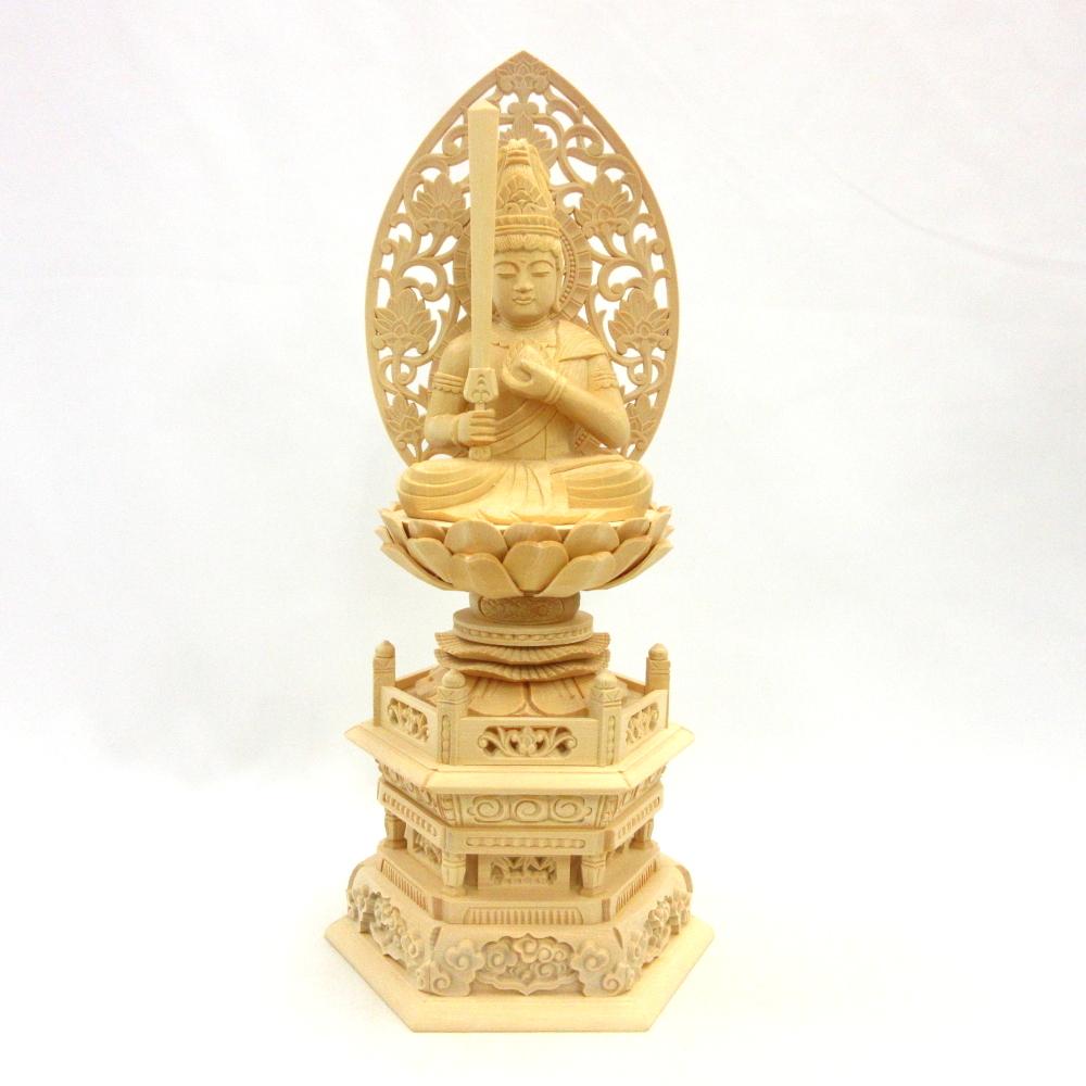 仏像 虚空蔵菩薩 座像 宝珠持ち 3.0寸 草光背 六角台 桧木 守り本尊 うし年 とら年 守護本尊