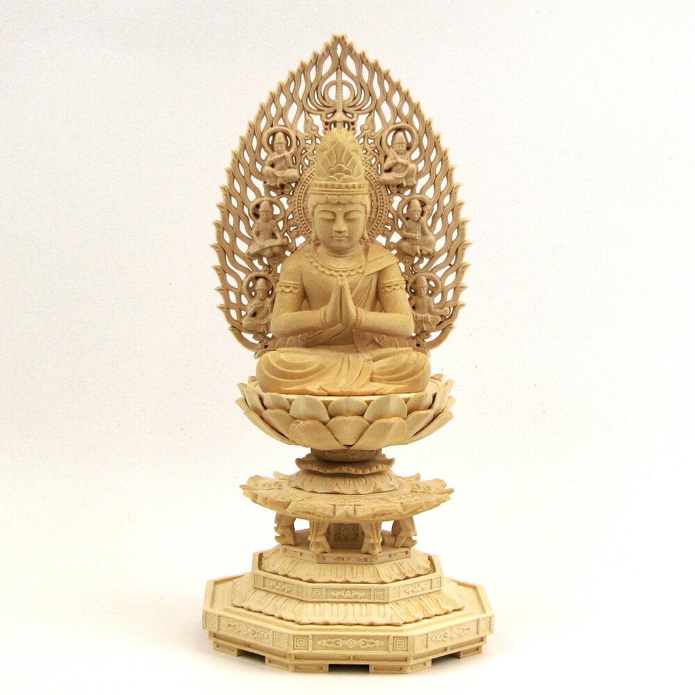 仏像 勢至菩薩 座像 合掌形 2.5寸 飛天光背 八角台 桧木 守り本尊 守護本尊 午(うま)年生まれ