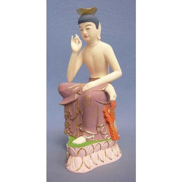 仏像 弥勒菩薩 半跏像 20cm ツゲ極彩色