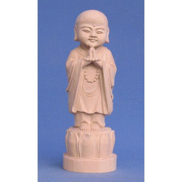 仏像 子育地蔵 合掌形 16cm 桧木