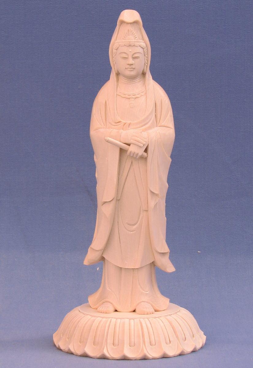 仏像 白衣観音立像 巻物持ち 5.0寸 総高20cm 桧木