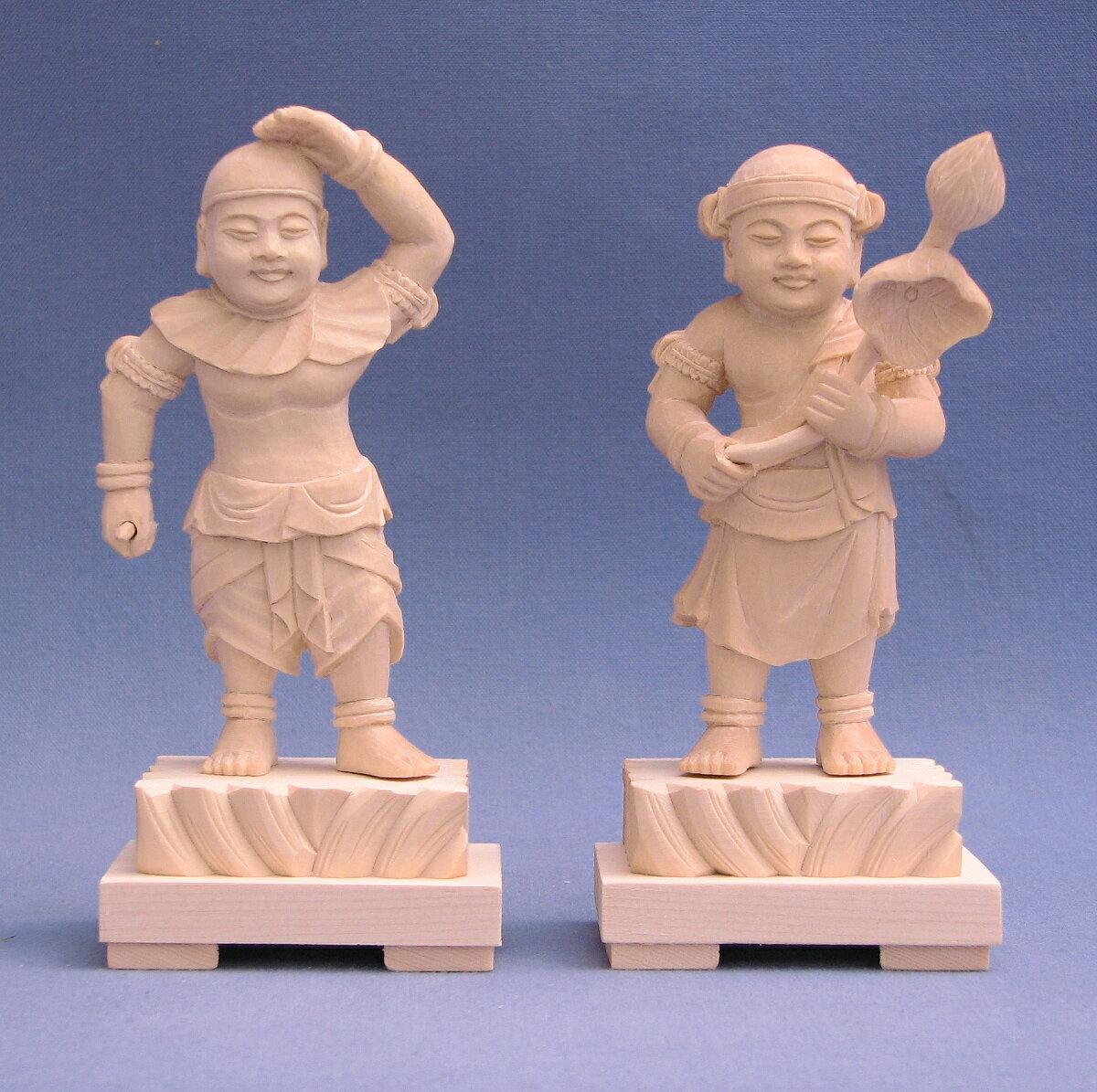 仏像 掌善掌悪童子 地蔵菩薩脇侍 立像 一対 3.0寸 桧木