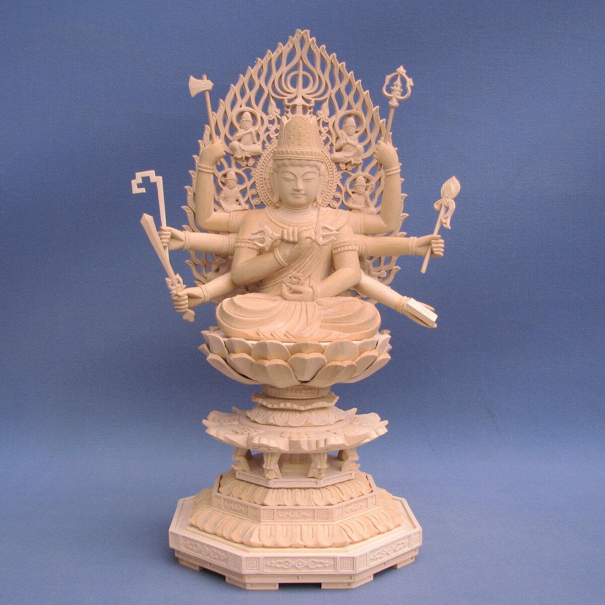 仏像 大随求菩薩 3.0寸 飛天光背 八角台 桧木