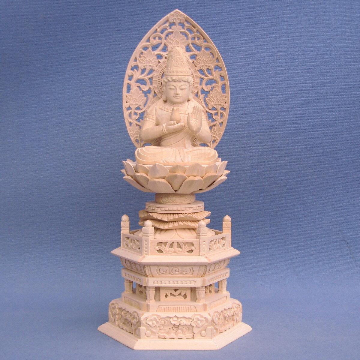 木彫仏像/持世菩薩2.0寸草光背六角台桧木