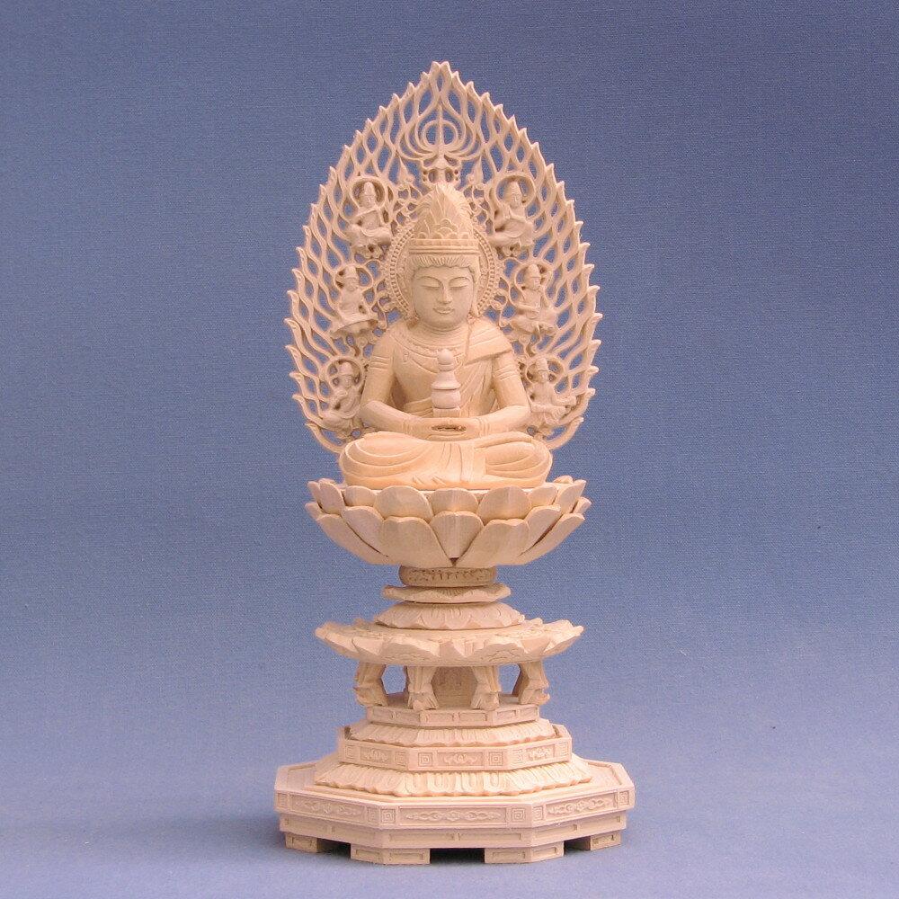 仏像 弥勒菩薩 座像 塔持 2.0寸 飛天光背 八角台 桧木
