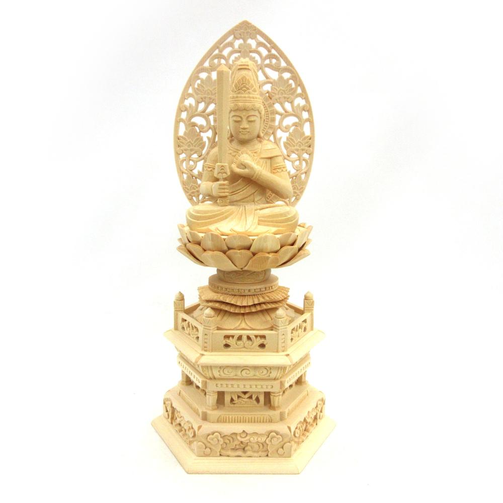 仏像 虚空蔵菩薩 座像 宝珠持ち 2.5寸 草光背 六角台 桧木 守り本尊 うし年 とら年