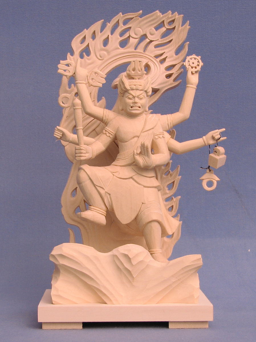 仏像 烏枢沙摩明王 立像 4.0寸 桧木